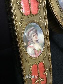 Two Piece French Antique Brass Dresser Set with Hand Painted Portraits