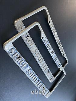 VTG used set of two 60s 70s NASA Space Shuttle Team Member License Plate Frames