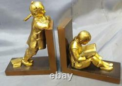 Vintage Metal Asian Chinese Children Book Scholars Pair of Two 2 Bookends Set