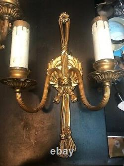 Vintage Set Of Two Brass Candelabras. 15Electric Wall Sconces. Both Work Great
