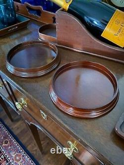 Virginia Metalcrafters Mahogany Williamsburg Wine Trays (Set of Two) Rare