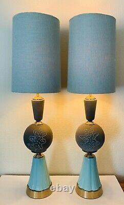 Vtg MCM Ceramic And Metal Lamps Mint Green Grey Set of Two (2)