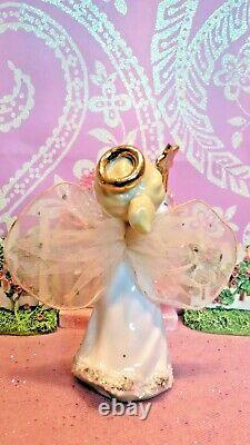 Vtg SET TWO DANCING Christmas Angels GOLD STARS & WAND Tulle Fabric WINGS