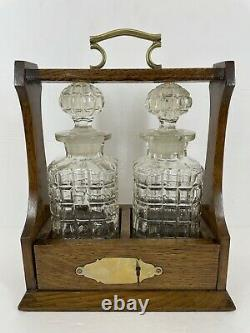 Vtg Wood Tantalus Caddy Set With Two Decanters And Key