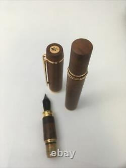 Waterman Le Man 100 Briarwood Set Of Two (2) Fountain Pens & Green Leather Case