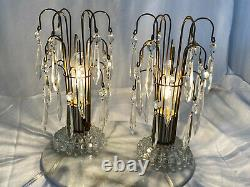 1950 Waterford Style Lampes De Table Art Déco Avec Prismes En Cristal Ensemble De Deux