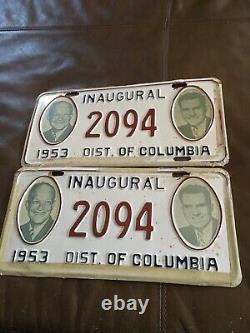 1953 Plaque De Licence Inaugurale Eisenhower Nixon DC Rare Set De Deux