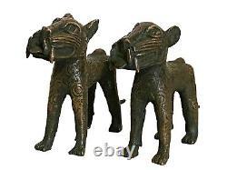 #3367 Superbe Bénin Léopards Bronze Nigeria Ensemble Africain De Deux