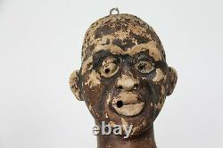 American Folk Art 19th Century African Dodger, Ensemble De Deux Têtes, Un Homme Et Une Femme