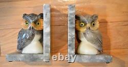Ancien Ensemble De Deux Oeil Owl En Verre Albâtre Art Déco Librairies-main Sculptée-italie