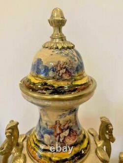Antique Original 20ème Serti De Porcelaine Française Deux Vases Bronze Pièce Centrale 70 CM