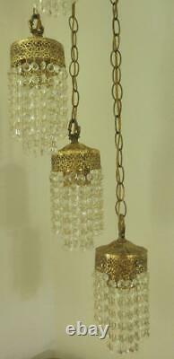 Antique Rare Ensemble De Deux Hollywood Lampes En Cristal Suspendu, Cinq Lumières Sur Chaque