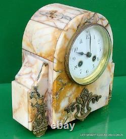 Art-deco Français 8 Jour Deux Train Garniture Clock