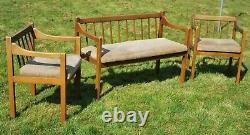 Beech Two Seat Bench Sofa + 2 X Armchair Set Collect Le8 MCM Collect Leics. Le8 (le8)