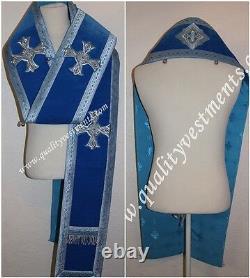 Bishop Orthodoxe Vestement Omophors Velvet Bleu Allemand Ensemble De Deux Croix D'argent