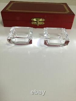 Cartier Très Rare Ensemble De Deux Cendriers En Cristal Art Déco Avec Boîte Originale