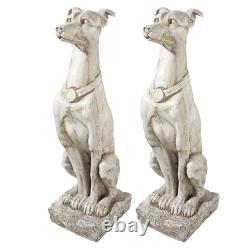 Design Toscano Art Déco Whippet Greyhound Sentinel Dog Statue Ensemble De Deux