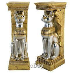 Design Toscano Égyptienne Cat Déesse Bastet Pedestal Statue Ensemble De Deux