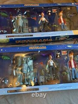 Deux (2) Futurama Collect-o-pak Figure Sets Tower Records Exclusive 2001 Nib