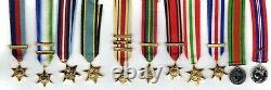 Ensemble Complet De La Seconde Guerre Mondiale (11) Médailles De Robe Miniature Et Fermoir Pertinent