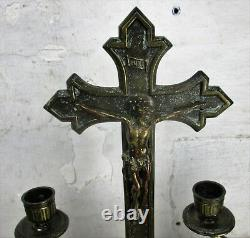 Ensemble D'autel Magnifique Crucifix Debout Avec Deux Candelabras Ornate Embossed Brass