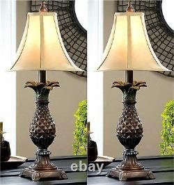 Ensemble De Deux (2) Table De Nuit D'ananas Ou Lampes De Table Avec Des Nuances De Lampe Nib