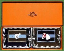Ensemble De Mini-cendriers Équestres De Deux Hermès'couvertures Nouvelles (new In Box)