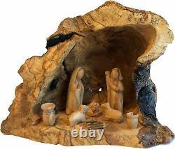 Ensemble De Nativité En Bois D'olive Avec Sculpté Dans Par La Main Rustique Stable No Two Alike Large