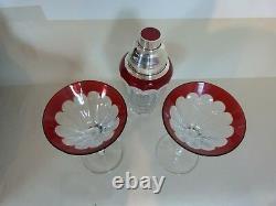 Faberge Grand Duke Martini Shaker Silver & Crystal & Two Glass Set Avec Case & LID
