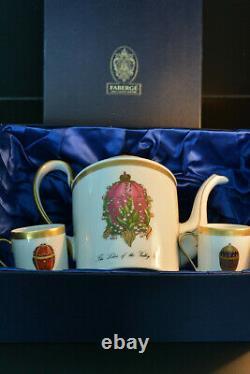Faberge Set Cafetière & Deux Tasses Coffe Porcelaine 24k W / Boîte