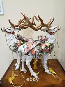 Fitz & Floyd Enchanted Holiday Deer Reindeer Figurine Ensemble De Deux
