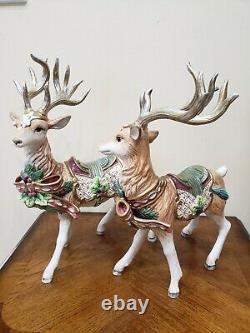 Fitz & Floyd Florentine Christmas Deer Reindeer Figurine Ensemble De Deux