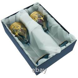 Glassofvenice Set De Deux Verres À Vin En Verre De Murano 24k Gold Leaf Blue