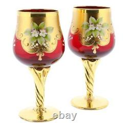 Glassofvenice Set De Deux Verres À Vin En Verre De Murano 24k Gold Leaf Rouge