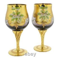 Glassofvenice Set De Deux Verres De Vin En Verre De Murano 24k Feuille D'or Violet