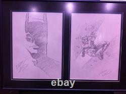 Greg Land Original Batman & Nightwing Comic Art Sketch Ensemble De Deux! Encadré