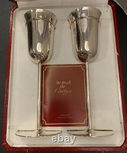 Les Must De Cartier Trinity Sterling Argent Mariage Toast Flûtes Ensemble De Deux