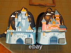 Loungefly Disney Castle Mini Sac À Dos Ensemble De Deux Disneyland Disney World Nouveau