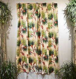 MID Century Tropical Exotica Barkcloth Drapery Curtains, Ensemble De 4/deux Paires