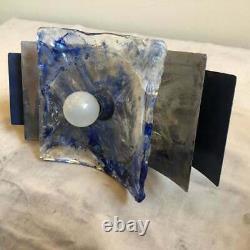 Mazzega Ensemble De Deux Scons Muraux En Verre De Murano Blanc Et Bleu De L'âge De L'espace Vers 1970