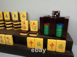 Mille 1930's Ap Jeux Deux Tones Mahjong Mahjongg Set Bakelite Racks, Bank & Die