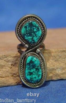 Navajo Anneau En Argent Sterling Avec Deux Réglages Turquoise C. 1970 Taille 7
