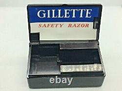 Non Utilisé Vintage 1930s Gillette No 77 Argent Plaqué Deux Pièces Bakelite Rasoir Set