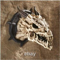 Pacific Gift Horned Dragon Skull Wall Trophy Set Of Two Figurine Resin Statue