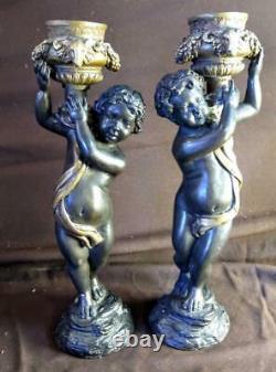 Paire De Deux Chandeliers En Bronze Cherub Putti Statues Figuratives Art Sculpture Set