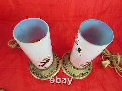 Rare Antique Devilbiss Verre Art Déco Parfum Dancy Lady Fairy Lampes Ensemble De Deux