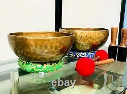 Singing Bowl Deux Ensemble 11 & 9 Pouces Diamètre Couronne Chakra-root Chakra Combo Pack