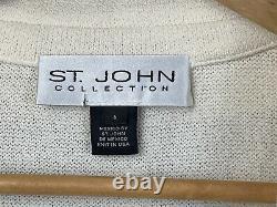 St. John Womens 6 Ensemble De Deux Pièces Collection Pantalon D'ivoire Veste À Un Bouton Tricoté
