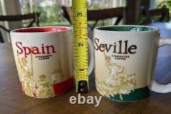 Starbucks Set Of Two 2 Séville Espagne Demitasse 3oz Tasses Tasses Yah Rare Demi