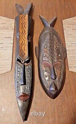 Tribal African Masques Muraux Suspendus En Bois Décoration Maison Main Sculptée Ensemble D'art De Deux
